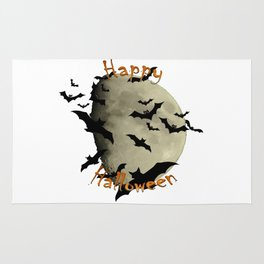 Happy Halloween  Bats and Haunting Moon Rug