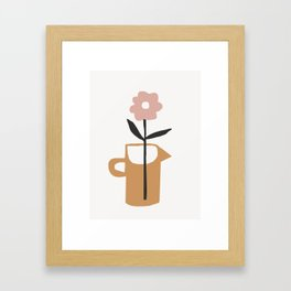 Aella - earthtones minimalist vase with florals simple art print for home decor Framed Art Print