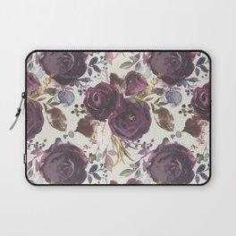 Pastel burgundy violet pink watercolor roses floral Laptop Sleeve