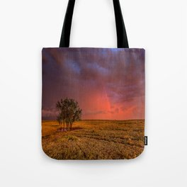 Fire Within - Red Sky and Rainbow Over Lone Tree on Great Plains Tote Bag