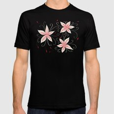 Beautiful Abstract Flowers In Red And White MEDIUM Mens Fitted Tee Black