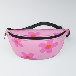 pink 70s floral, flower power print Fanny Pack