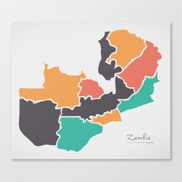 Zambia Map with states and modern round shapes Canvas Print