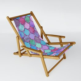 Colorful Pink Glitter Mermaid Scales Sling Chair