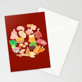 Illustration of a collection of Chinese ingredients Stationery Cards