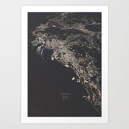 Monaco city map Art Print