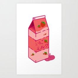 いちごミルク Art Print