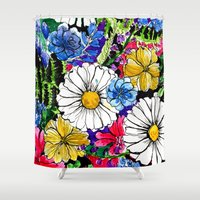 alisa burke Shower Curtains featuring daisies by Alisa Burke