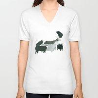 sheep V-neck T-shirts featuring Sheep by Yuliya