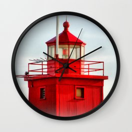 Big Red Lighthouse Wall Clock
