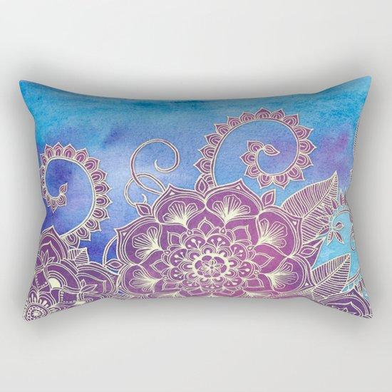 Magnolia & Magenta Floral on Watercolor Rectangular Pillow