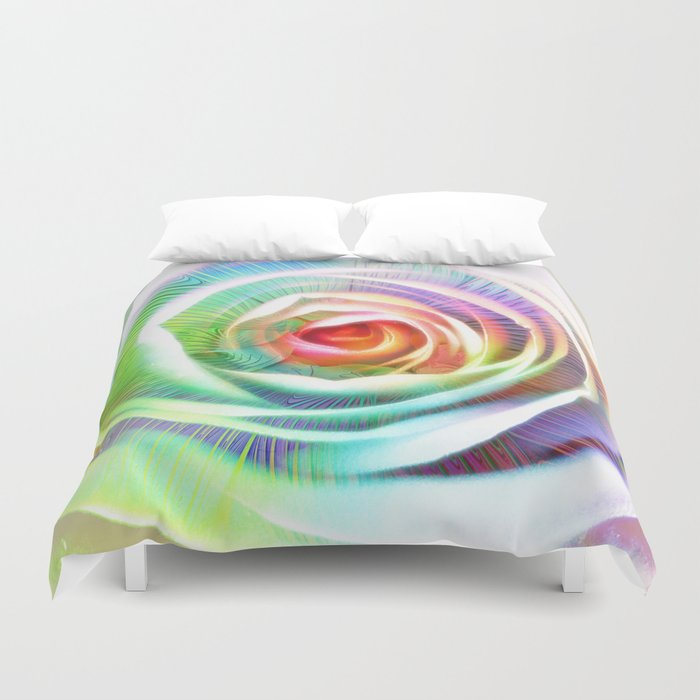 Rainbow Rose & Fractal Duvet Cover