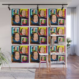 SIR WILLIAM SHAKESPEARE - COLOURFUL, 4-UP POP ART ILLUSTRATION,WITH DIGITAL DISTORTION Wall Mural
