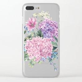 Summer Vintage Hydrangea Clear iPhone Case