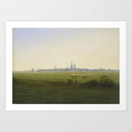Meadows near Greifswald (1820-22) Kunsthalle, Hamburg by Caspar David Friedrich 1774-1840 Art Print