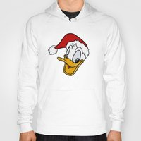 donald duck Hoodies featuring Christmas Donald Duck by Yuliya L