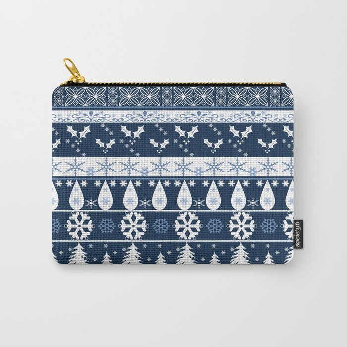 Retro . Christmas pattern . Blue background . Carry-All Pouch