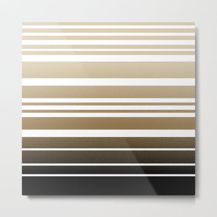 Bay Ombre Stripe: Neutral Metal Print