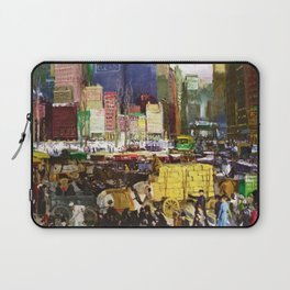 Bustling Big City New York landscape painting by George Wesley Bellows Laptop Sleeve