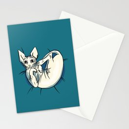 Playful Sphynx Kitty - Curled Up Nude Cat - Wrinkly Nude Cat - Blue Stationery Cards