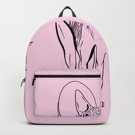 Sphynx Cats Make Me Happy You Not So Much - Funny Animal Quote - Line Drawing Wrinkly Kitty Backpack