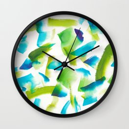 180719 Koh-I-Noor Watercolour Abstract 28  Watercolor Brush Strokes Wall Clock