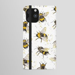 Fluffy Bumblebees (Pattern) iPhone Wallet Case