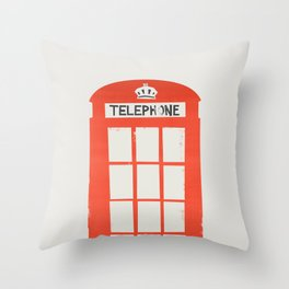Red London Telephone Box Throw Pillow