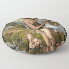 Leonardo da Vinci - Leda and the Swan Floor Pillow