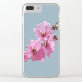 Pink Mallow Flowers Photo to Paint on Blue Clear iPhone Case