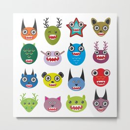 Cute cartoon Monsters Set. Big collection on white background Metal Print