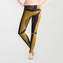 Geometric Golden Yellow Circles & Triangles on Deep Purple Leggings