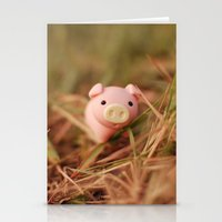 pig Stationery Cards featuring Pig by Natália Viana ♥