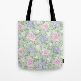 Flower Play Pink Lavender Green Antique Look Tote Bag