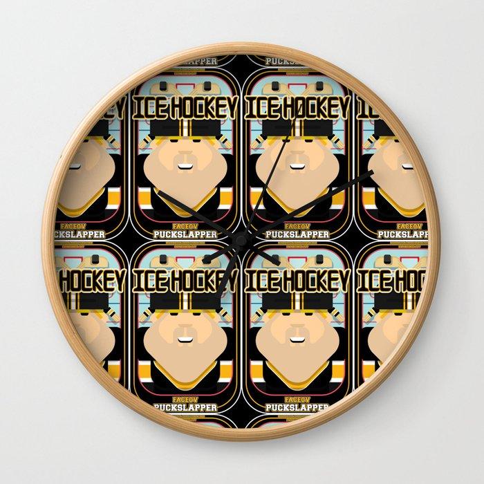 Ice Hockey Black and Yellow - Faceov Puckslapper - Sven version Wall Clock