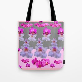 PURPLE  FUCHSIA ORCHIDS  SPRINKLES ON  GREY-PINK ART Tote Bag