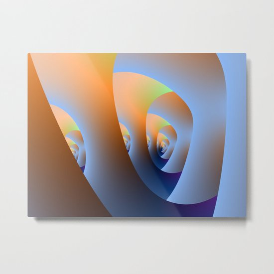 Labyrinth in Orange and Blue Metal Print