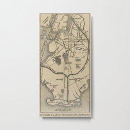 Vintage NYC and Brooklyn Beach R.R. Map (1879) Metal Print