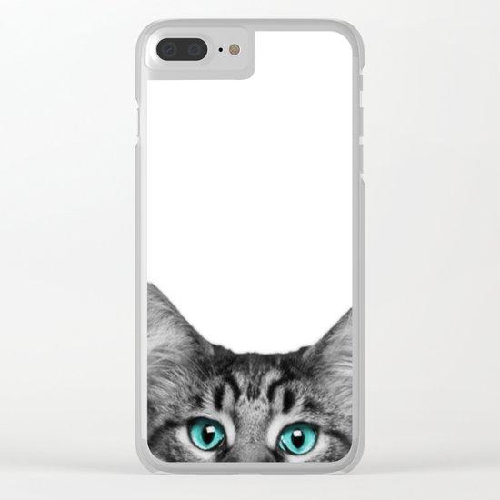 Cat Peeking Clear iPhone Case