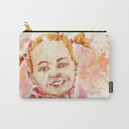 Happy girl in red by watercolor Carry-All Pouch