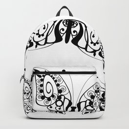 Butterfly black fishnet on a white background Backpack