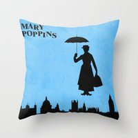 mary poppins Throw Pillows featuring Mary Poppins by TheWonderlander