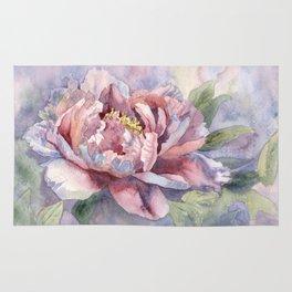 Pink Peonies Watercolor Flowers Peony Painting Floral art print Rug