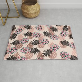 Pretty Pink Rose Gold Floral Pineapple Fruit Pattern Rug