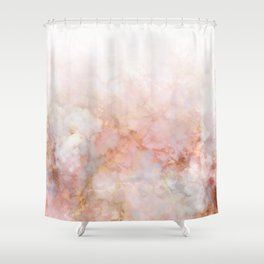 Beautiful Pink and Gold Ombre marble under snow Shower Curtain