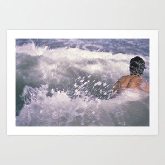 Brian swimming in the sea Art Print