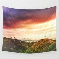 los angeles Wall Tapestries featuring LOS ANGELES by Troy Spino