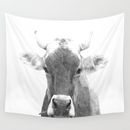 Cow black and white animal portrait Wall Tapestry