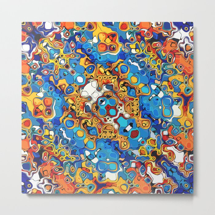 Orange And Blue Abstract Metal Print