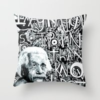 einstein Throw Pillows featuring Einstein.  by Will Santino